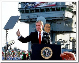 """Perhaps Eric was behind the last """"Mission Accomplished"""" banner?"""