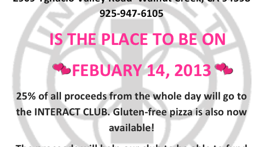 Interact Fundraiser February 14th at Rocco's in Walnut Creek